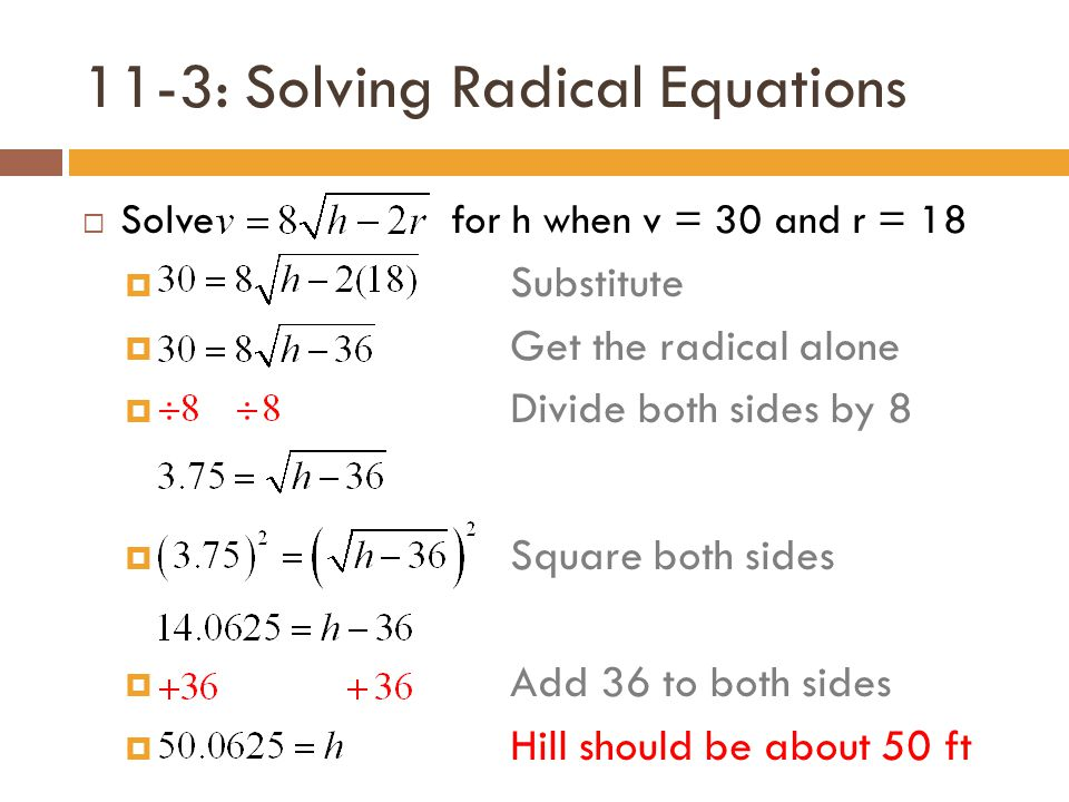 lesson 8-8 problem solving solving radical equations and inequalities