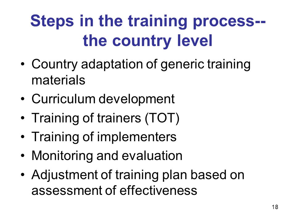 Country adaptation of generic training materials Curriculum development Training of trainers (TOT) Training of implementers Monitoring and evaluation Adjustment of training plan based on assessment of effectiveness Steps in the training process-- the country level 18