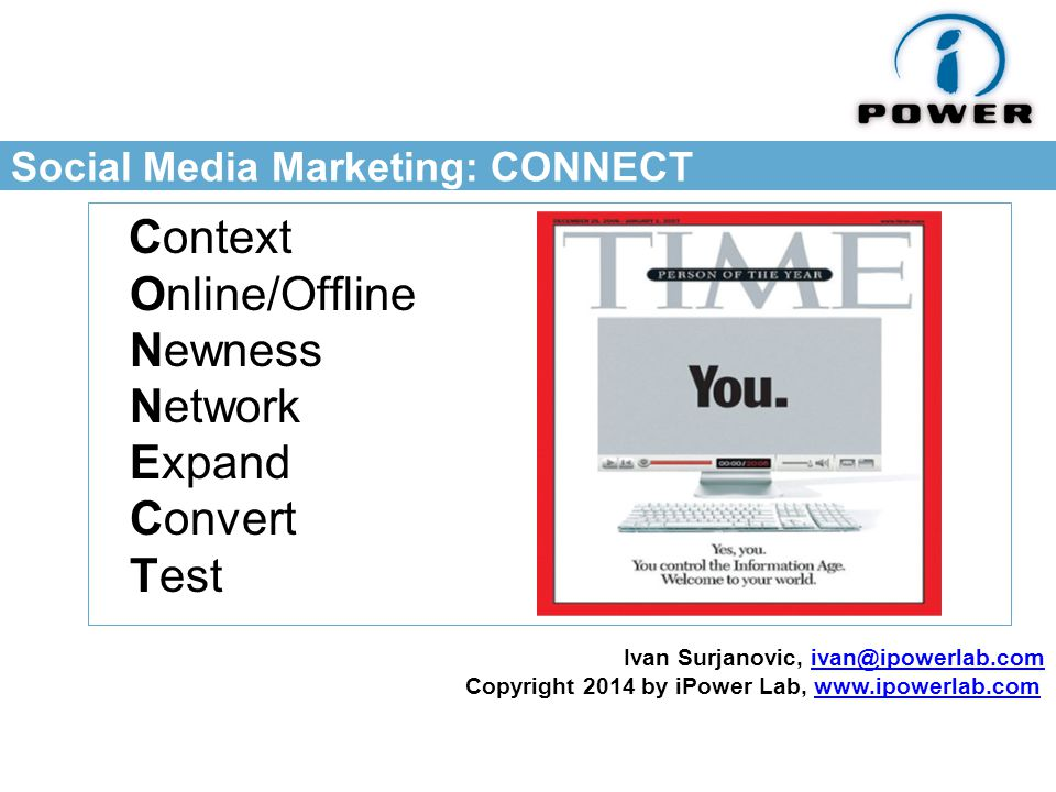 Social Media Marketing: CONNECT Context Online/Offline Newness Network Expand Convert Test Ivan Surjanovic, Copyright 2014 by iPower Lab,
