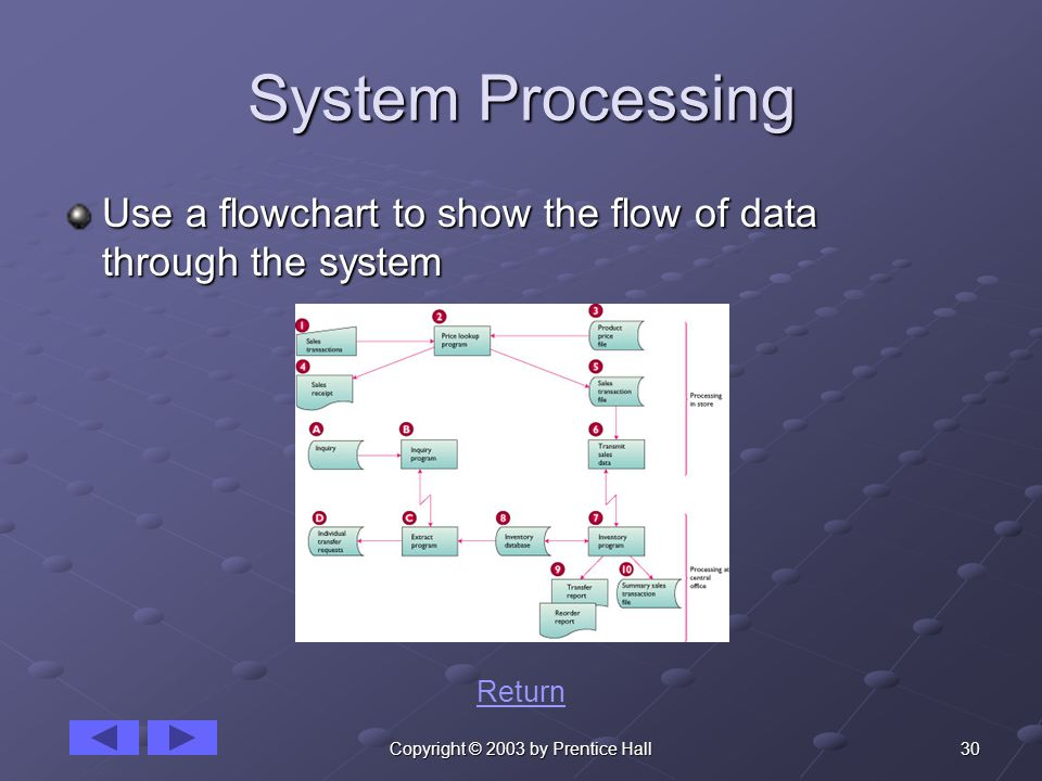 30Copyright © 2003 by Prentice Hall System Processing Use a flowchart to show the flow of data through the system Return