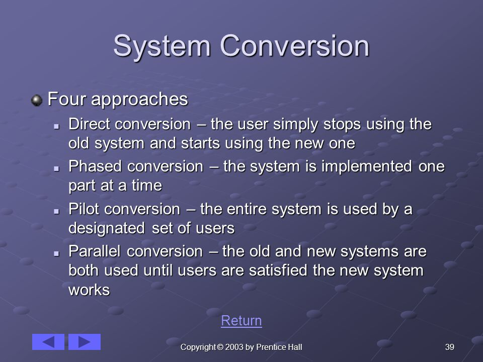 39Copyright © 2003 by Prentice Hall System Conversion Four approaches Direct conversion – the user simply stops using the old system and starts using the new one Direct conversion – the user simply stops using the old system and starts using the new one Phased conversion – the system is implemented one part at a time Phased conversion – the system is implemented one part at a time Pilot conversion – the entire system is used by a designated set of users Pilot conversion – the entire system is used by a designated set of users Parallel conversion – the old and new systems are both used until users are satisfied the new system works Parallel conversion – the old and new systems are both used until users are satisfied the new system works Return