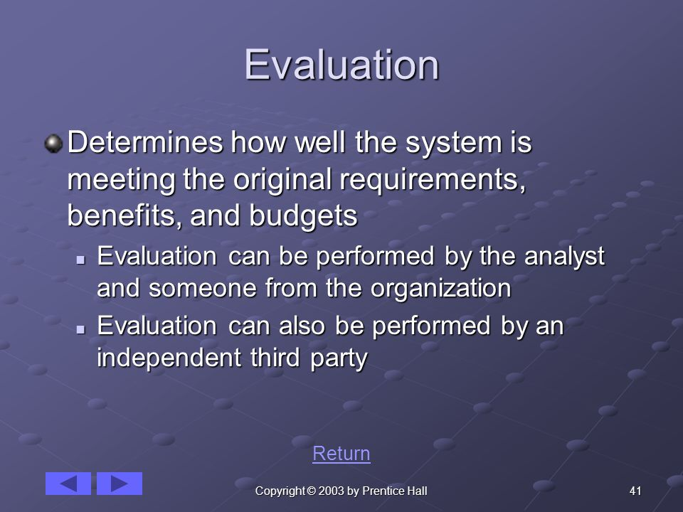 41Copyright © 2003 by Prentice Hall Evaluation Determines how well the system is meeting the original requirements, benefits, and budgets Evaluation can be performed by the analyst and someone from the organization Evaluation can be performed by the analyst and someone from the organization Evaluation can also be performed by an independent third party Evaluation can also be performed by an independent third party Return