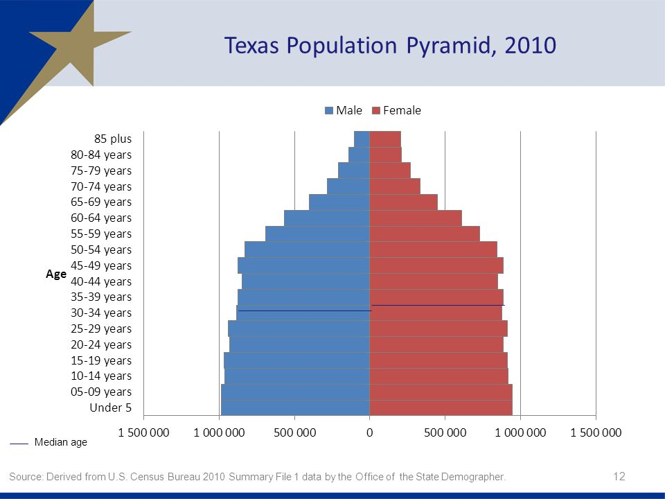 Texas Population Pyramid, Source: Derived from U.S.