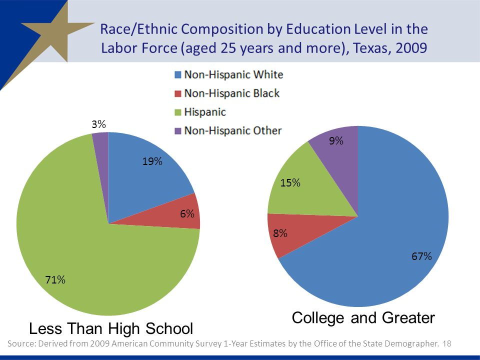 Race/Ethnic Composition by Education Level in the Labor Force (aged 25 years and more), Texas, Source: Derived from 2009 American Community Survey 1-Year Estimates by the Office of the State Demographer.