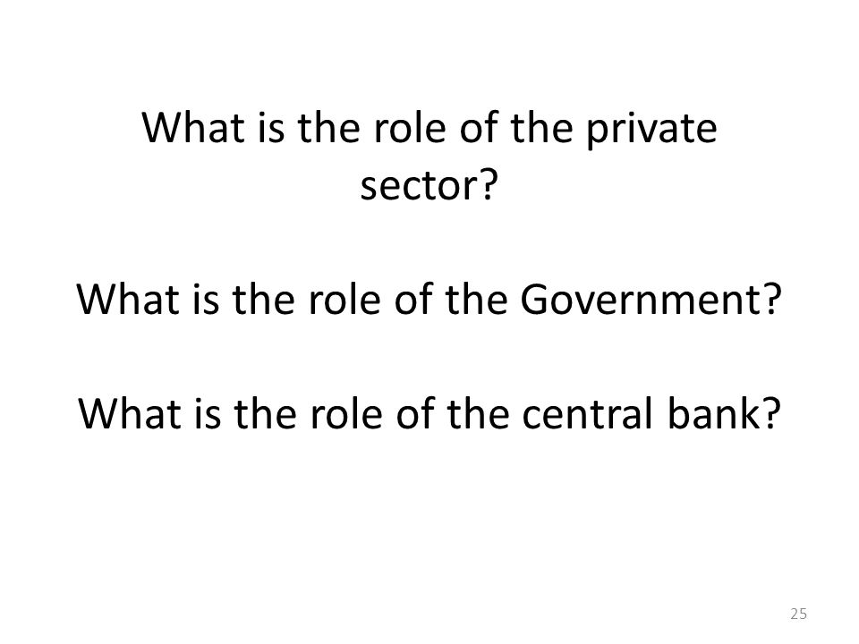What is the role of the private sector. What is the role of the Government.