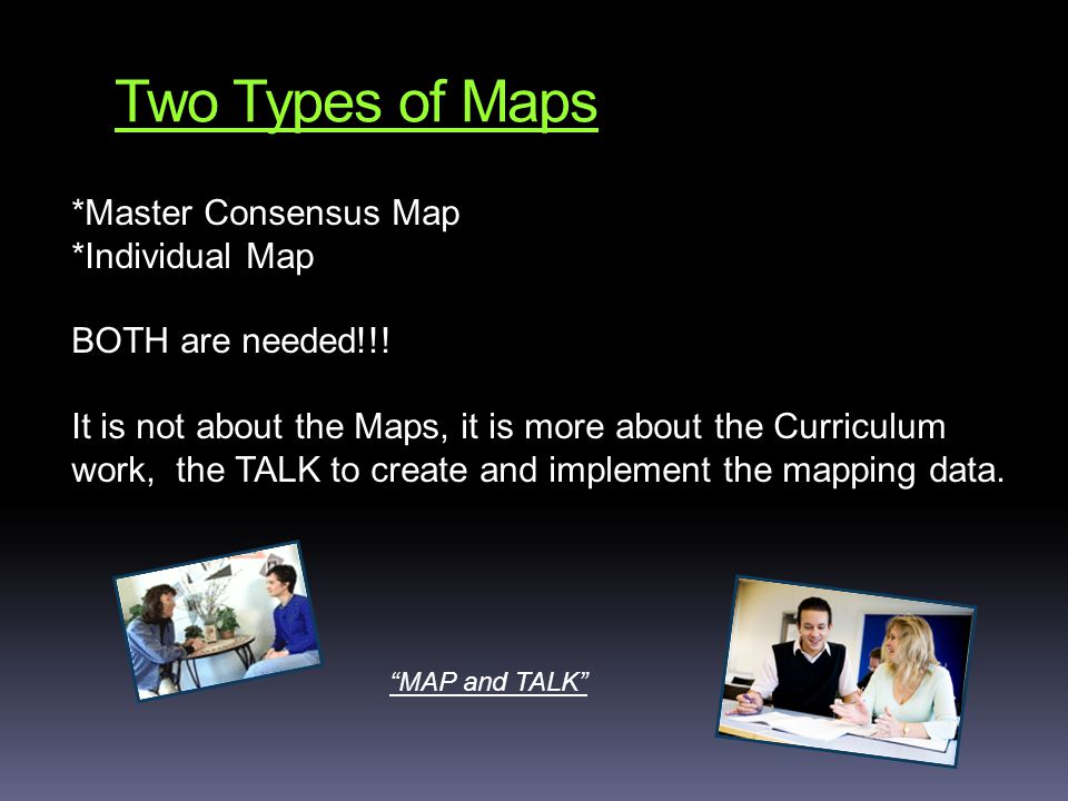 Two Types of Maps *Master Consensus Map *Individual Map BOTH are needed!!.