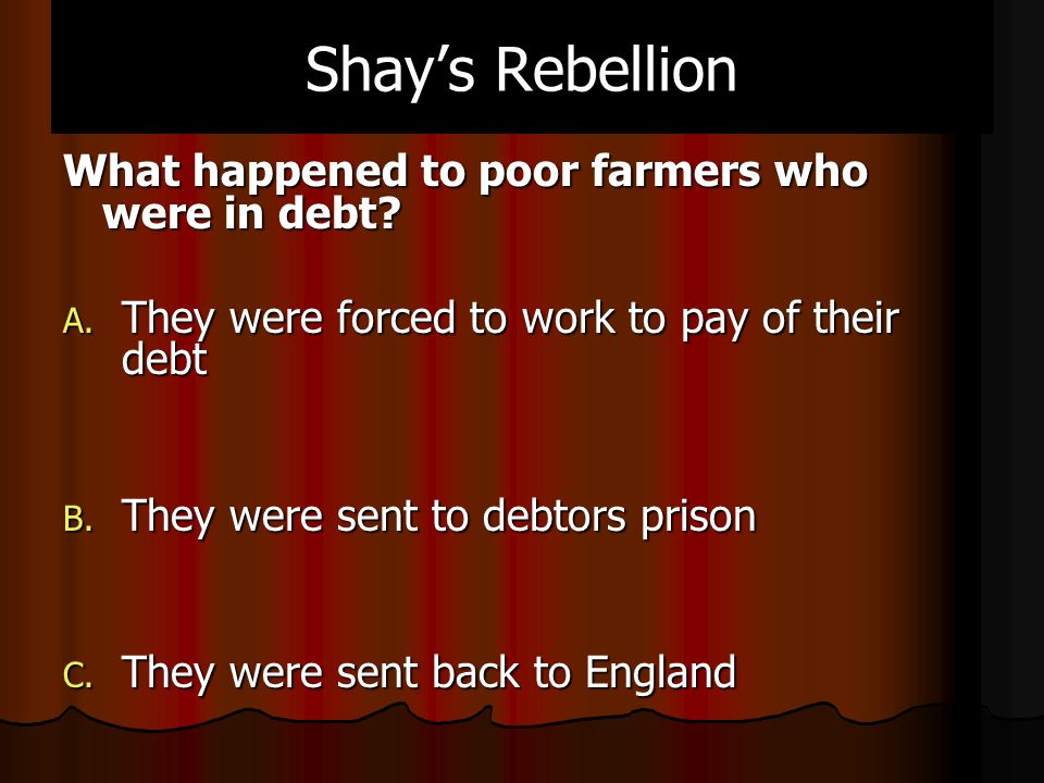 Shay's Rebellion What happened to poor farmers who were in debt.