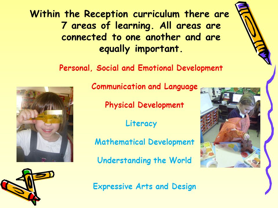 Within the Reception curriculum there are 7 areas of learning.