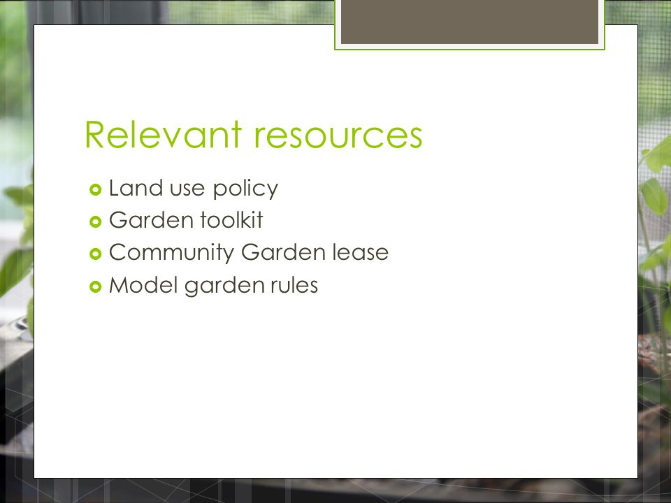 Supportive Policy Options for the Future of Community