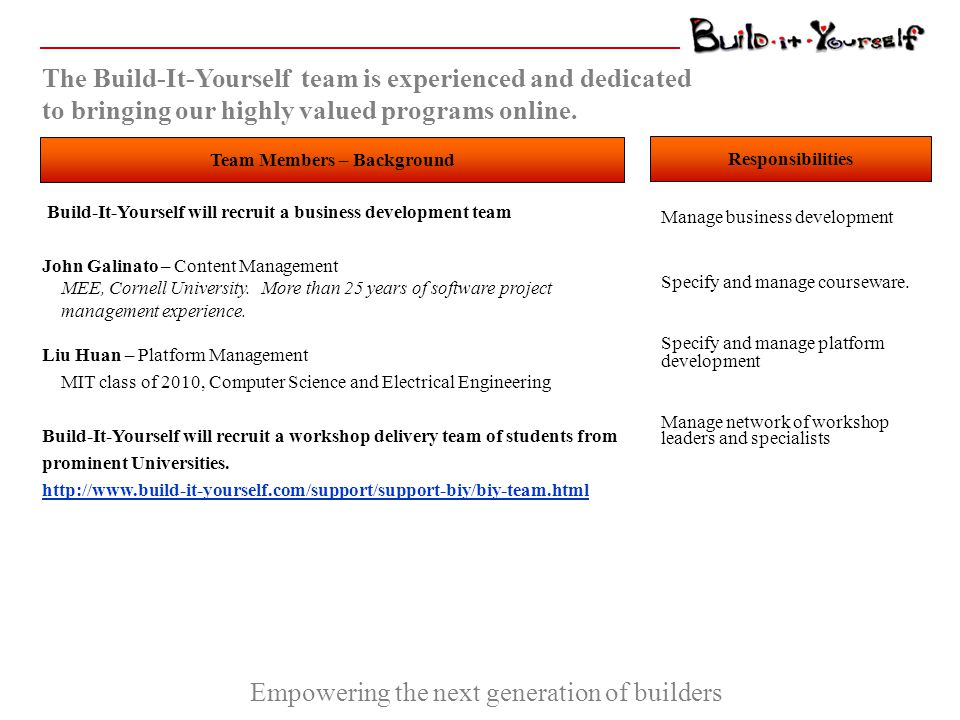 Empowering the next generation of builders Build-It-Yourself seeks