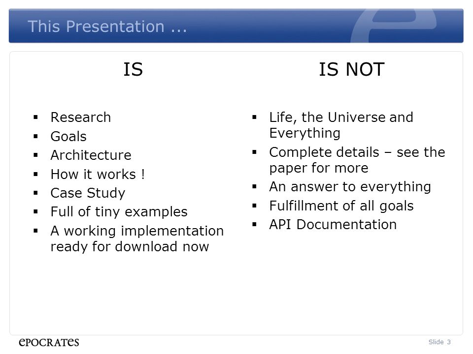 This Presentation... IS  Research  Goals  Architecture  How it works .