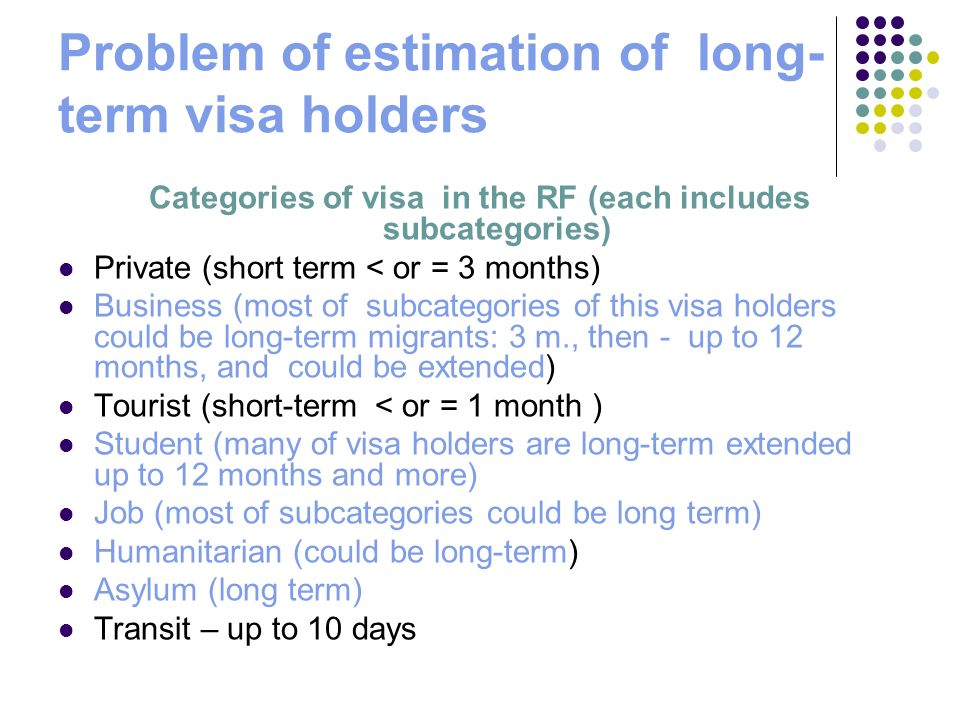 Problem of estimation of long- term visa holders Categories of visa in the RF (each includes subcategories) Private (short term < or = 3 months) Business (most of subcategories of this visa holders could be long-term migrants: 3 m., then - up to 12 months, and could be extended) Tourist (short-term < or = 1 month ) Student (many of visa holders are long-term extended up to 12 months and more) Job (most of subcategories could be long term) Humanitarian (could be long-term) Asylum (long term) Transit – up to 10 days