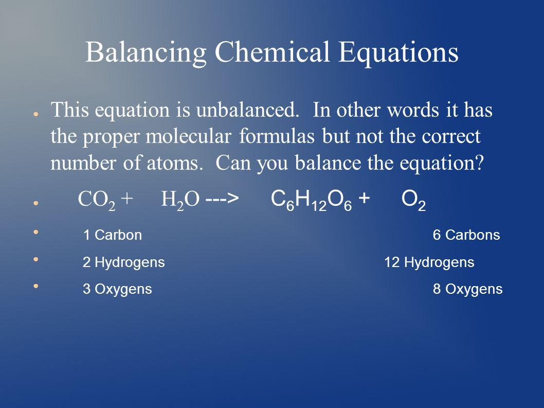 Balancing Chemical Equations ● This equation is unbalanced.
