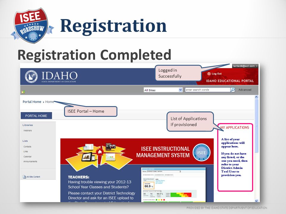 PROVIDED BY THE IDAHO STATE DEPARTMENT OF EDUCATION Registration Registration Completed Logged in Successfully List of Applications if provisioned ISEE Portal – Home