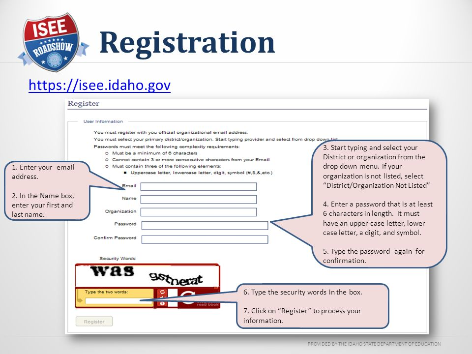 PROVIDED BY THE IDAHO STATE DEPARTMENT OF EDUCATION Registration   3.