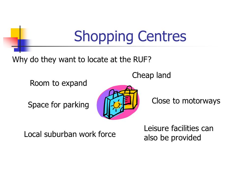 Shopping Centres Why do they want to locate at the RUF.