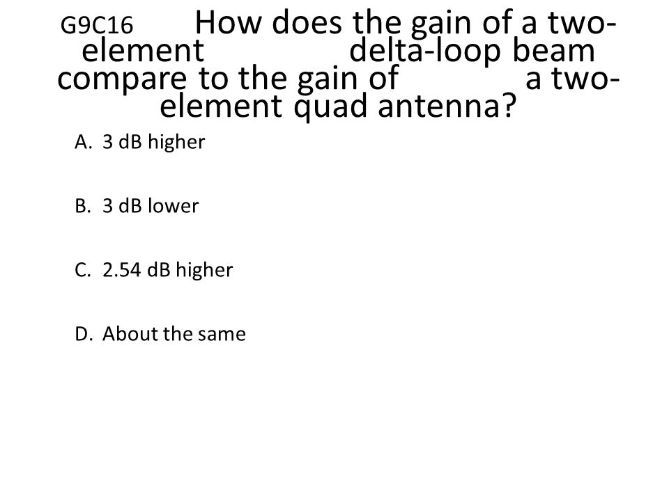 General Licensing Class Subelement G9, Questions Only Antennas and