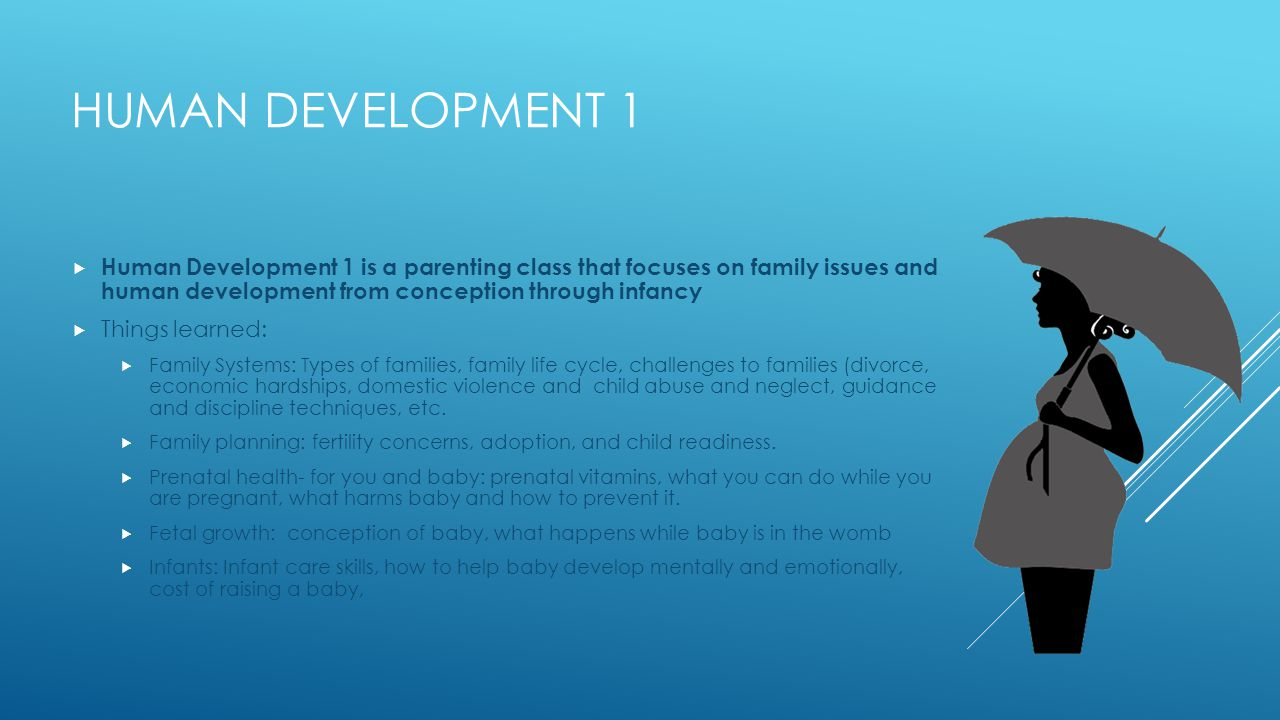 HUMAN DEVELOPMENT 1  Human Development 1 is a parenting class that focuses on family issues and human development from conception through infancy  Things learned:  Family Systems: Types of families, family life cycle, challenges to families (divorce, economic hardships, domestic violence and child abuse and neglect, guidance and discipline techniques, etc.