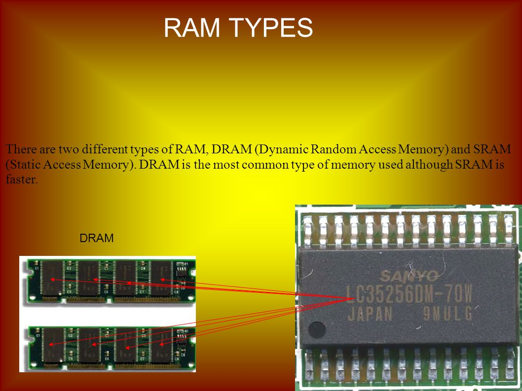 There are two different types of RAM, DRAM (Dynamic Random Access Memory) and SRAM (Static Access Memory).