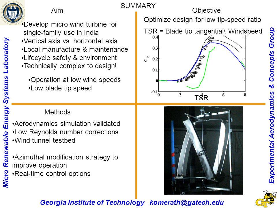 Experimental Aerodynamics & Concepts Group Micro Renewable Energy