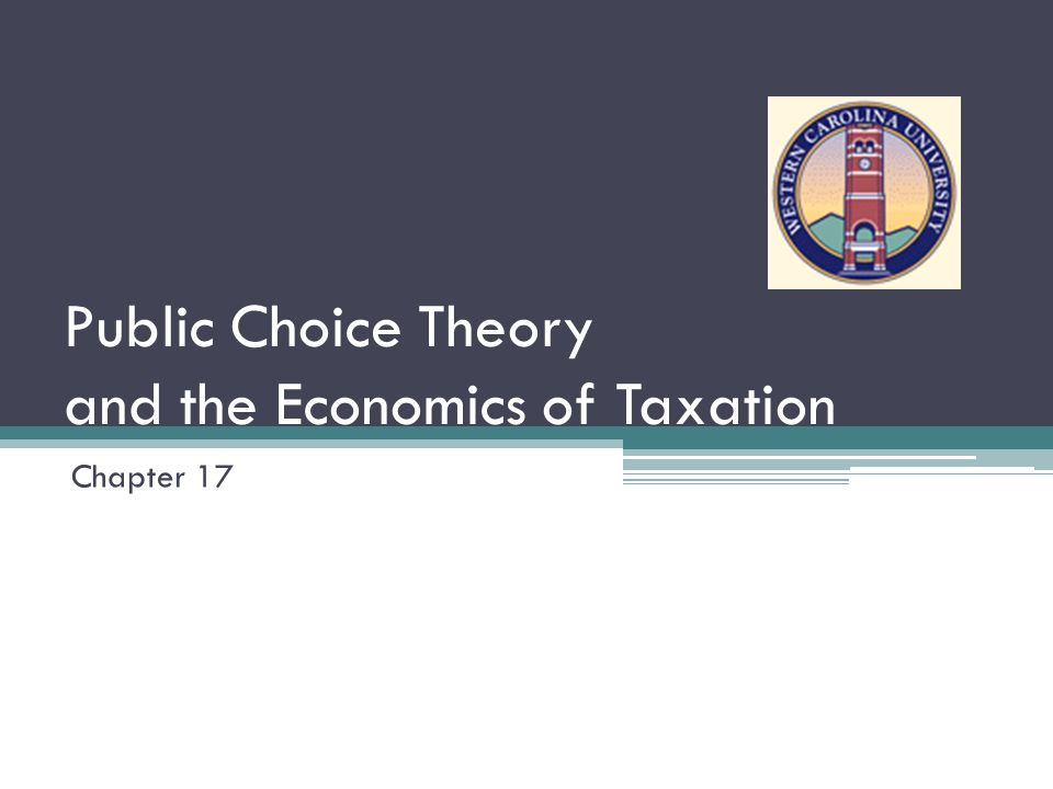 Public Choice Theory and the Economics of Taxation Chapter 17