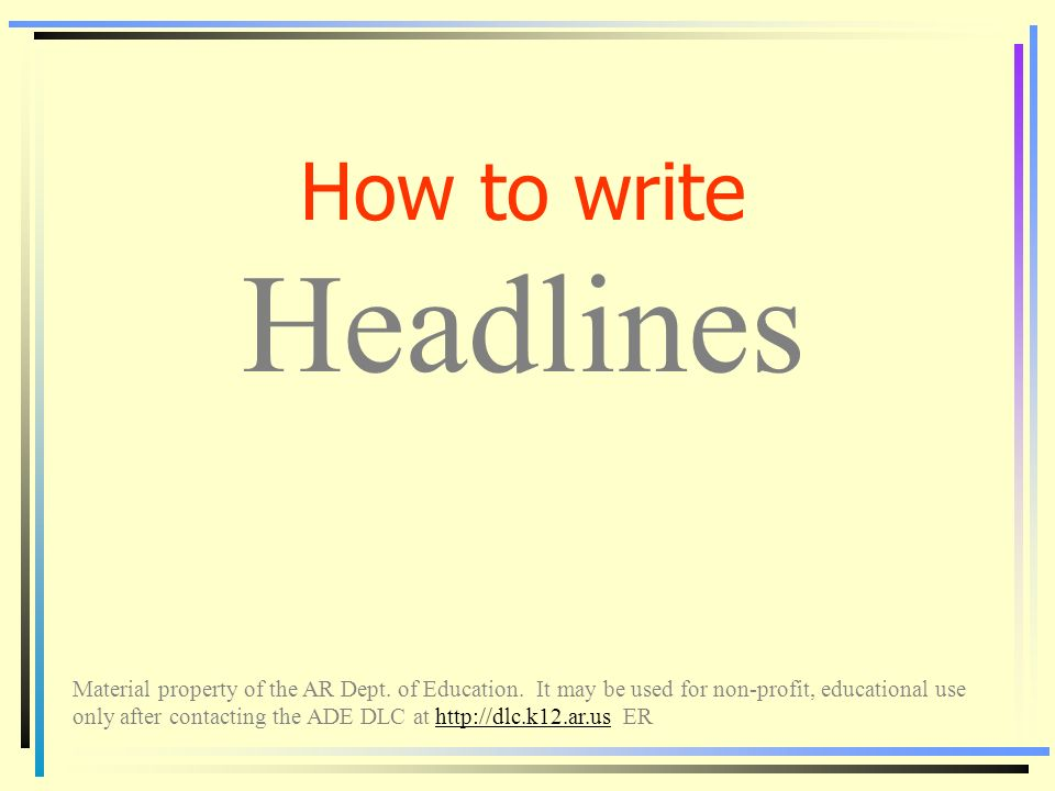 How to write Headlines Material property of the AR Dept  of