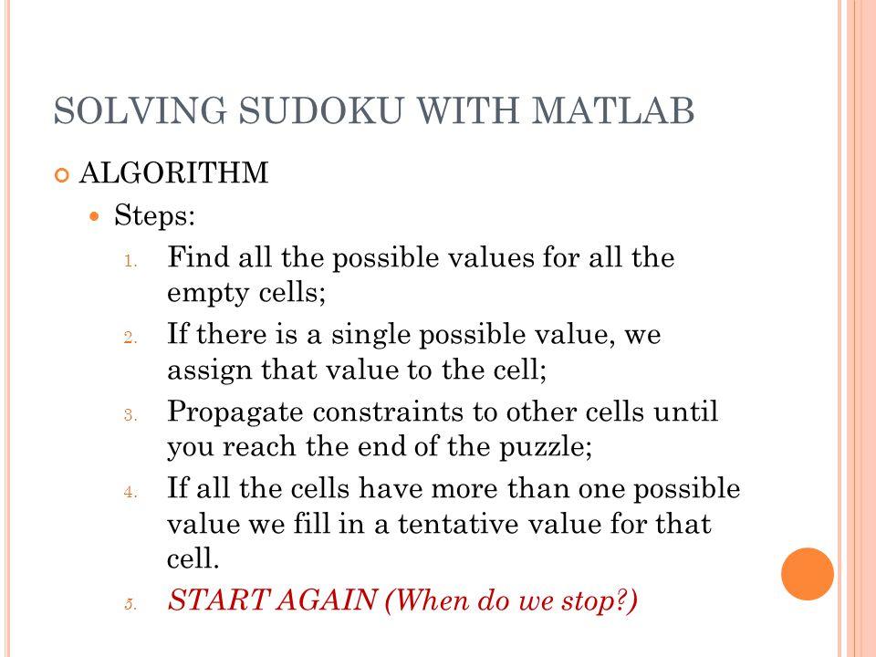 SOLVING SUDOKU WITH MATLAB VERIFICATION FUNCTION correctness