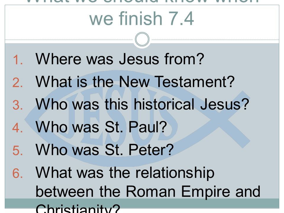 What we should know when we finish Where was Jesus from.