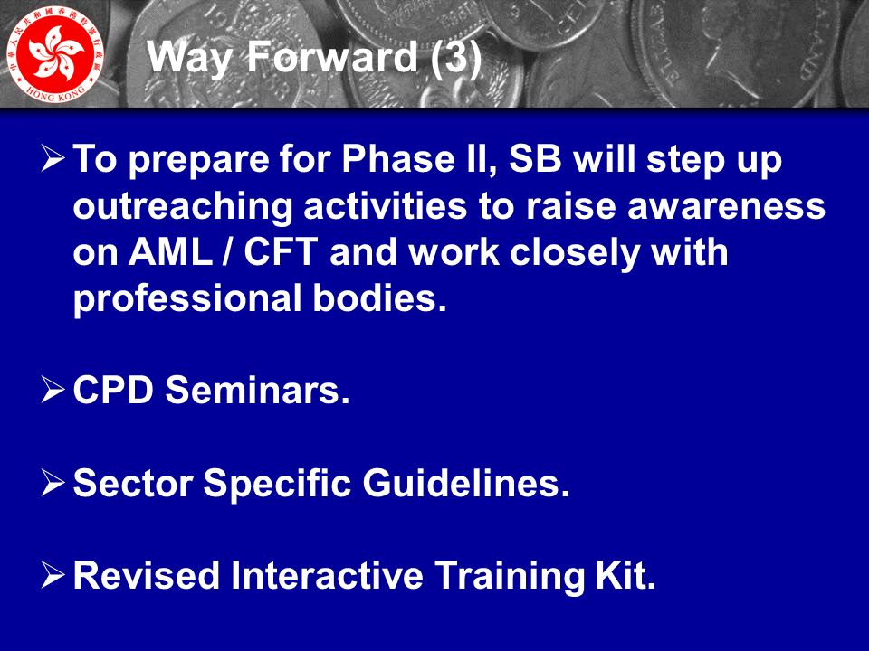 26  To prepare for Phase II, SB will step up outreaching activities to raise awareness on AML / CFT and work closely with professional bodies.