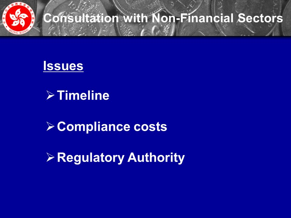 27 Consultation with Non-Financial Sectors  Timeline  Compliance costs  Regulatory Authority Issues