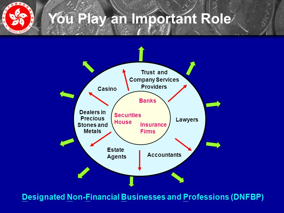 5 You Play an Important Role Designated Non-Financial Businesses and Professions (DNFBP) Trust and Company Services Providers Lawyers Accountants Casino Estate Agents Banks Securities House Insurance Firms Dealers in Precious Stones and Metals