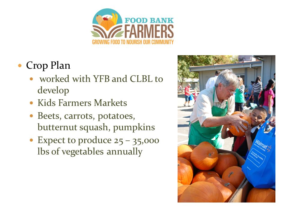 Crop Plan worked with YFB and CLBL to develop Kids Farmers Markets Beets, carrots, potatoes, butternut squash, pumpkins Expect to produce 25 – 35,000 lbs of vegetables annually