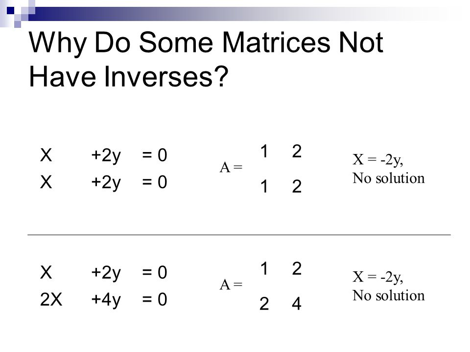 Why Do Some Matrices Not Have Inverses.