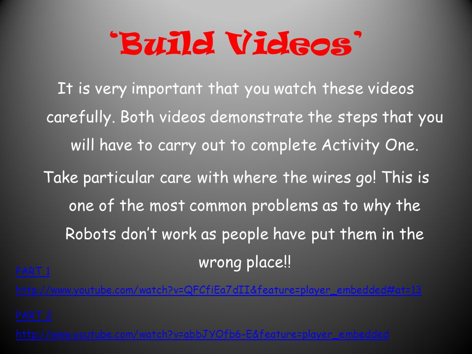 'Build Videos' It is very important that you watch these videos carefully.