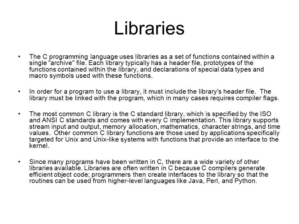 C Programming Language Cis 218 Description C Is A Procedural