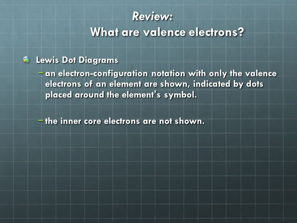 Review: What are valence electrons.