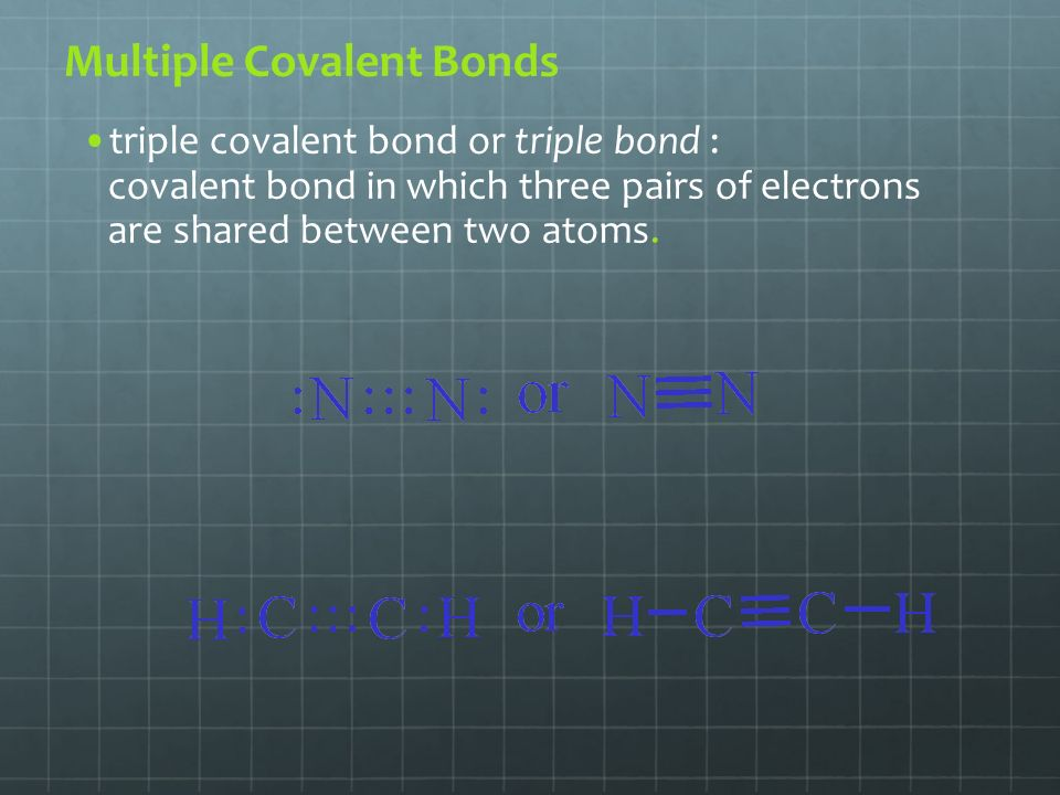 Multiple Covalent Bonds triple covalent bond or triple bond : covalent bond in which three pairs of electrons are shared between two atoms.
