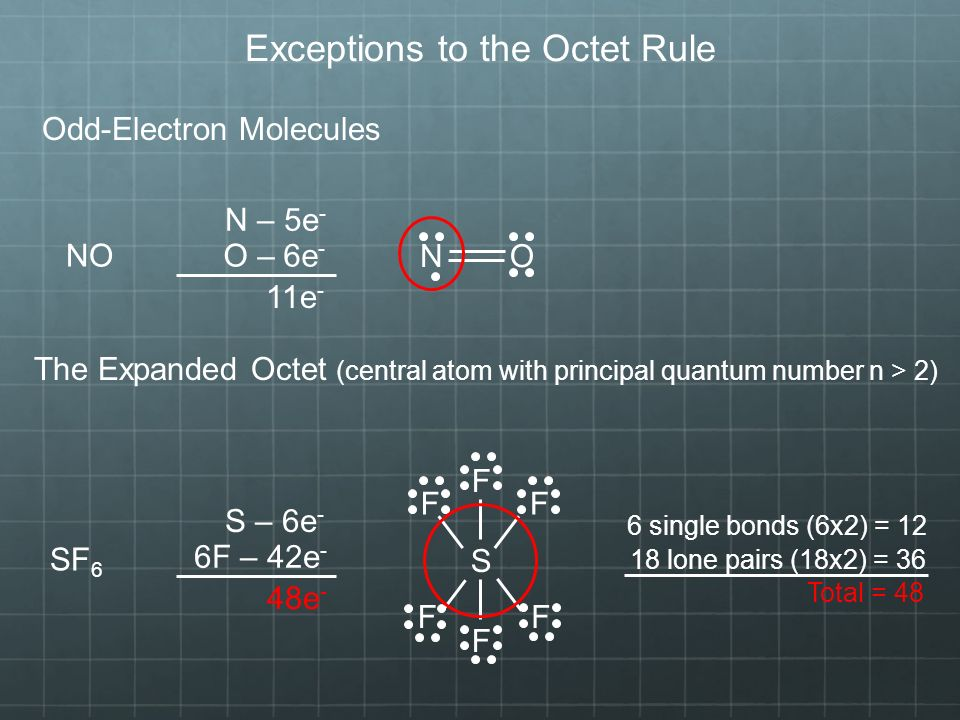 Exceptions to the Octet Rule Odd-Electron Molecules N – 5e - O – 6e - 11e - NO N O The Expanded Octet (central atom with principal quantum number n > 2) SF 6 S – 6e - 6F – 42e - 48e - S F F F F F F 6 single bonds (6x2) = lone pairs (18x2) = 36 Total = 48