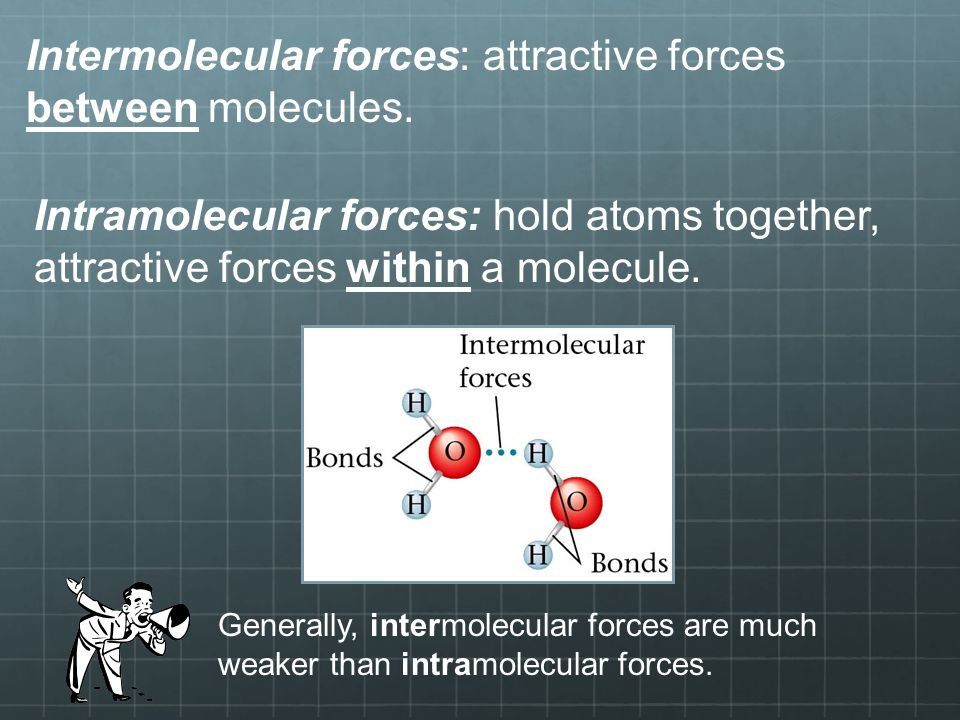 Intermolecular forces: attractive forces between molecules.