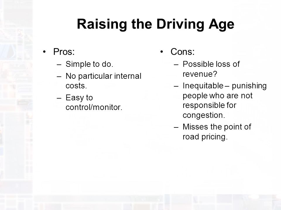 raising the driving age to 18