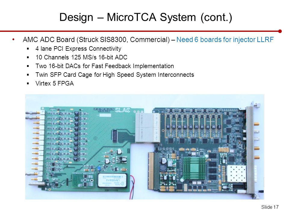 Design – MicroTCA System (cont.) Slide 17 AMC ADC Board (Struck SIS8300, Commercial) – Need 6 boards for injector LLRF  4 lane PCI Express Connectivity  10 Channels 125 MS/s 16-bit ADC  Two 16-bit DACs for Fast Feedback Implementation  Twin SFP Card Cage for High Speed System Interconnects  Virtex 5 FPGA