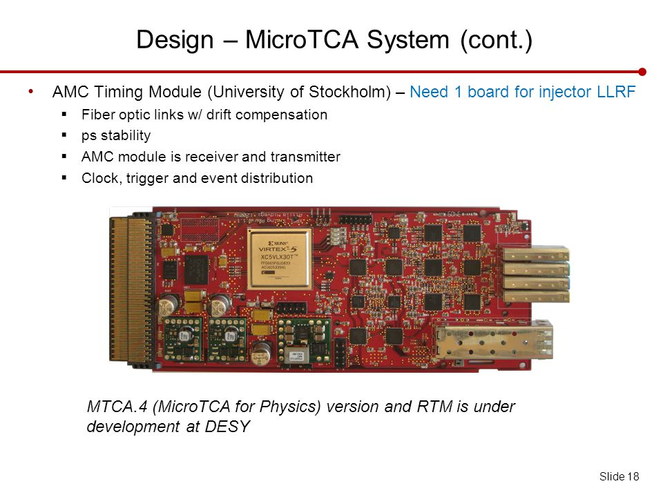 Design – MicroTCA System (cont.) Slide 18 AMC Timing Module (University of Stockholm) – Need 1 board for injector LLRF  Fiber optic links w/ drift compensation  ps stability  AMC module is receiver and transmitter  Clock, trigger and event distribution MTCA.4 (MicroTCA for Physics) version and RTM is under development at DESY