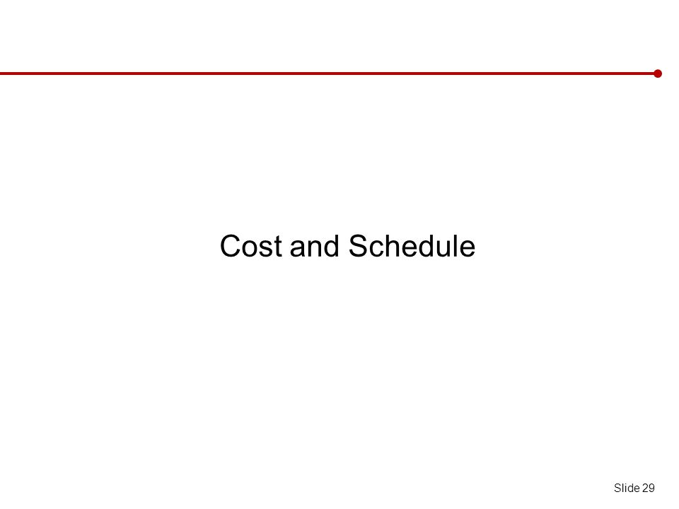 Cost and Schedule Slide 29