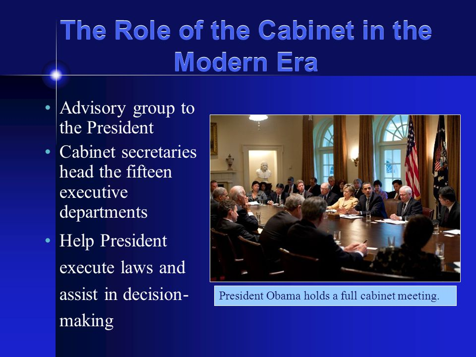 an introduction to the role of cabinets What is cabinet cabinet is the central decision-making body of executive government it provides a collective forum for ministers to decide significant government.