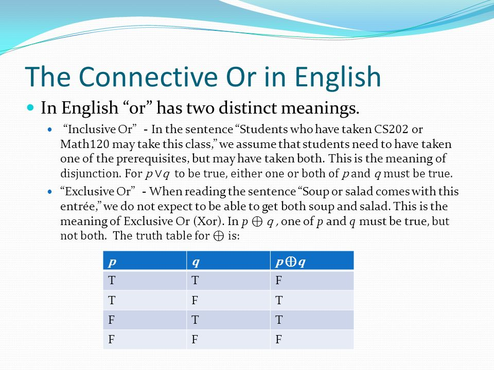 The Connective Or in English In English or has two distinct meanings.