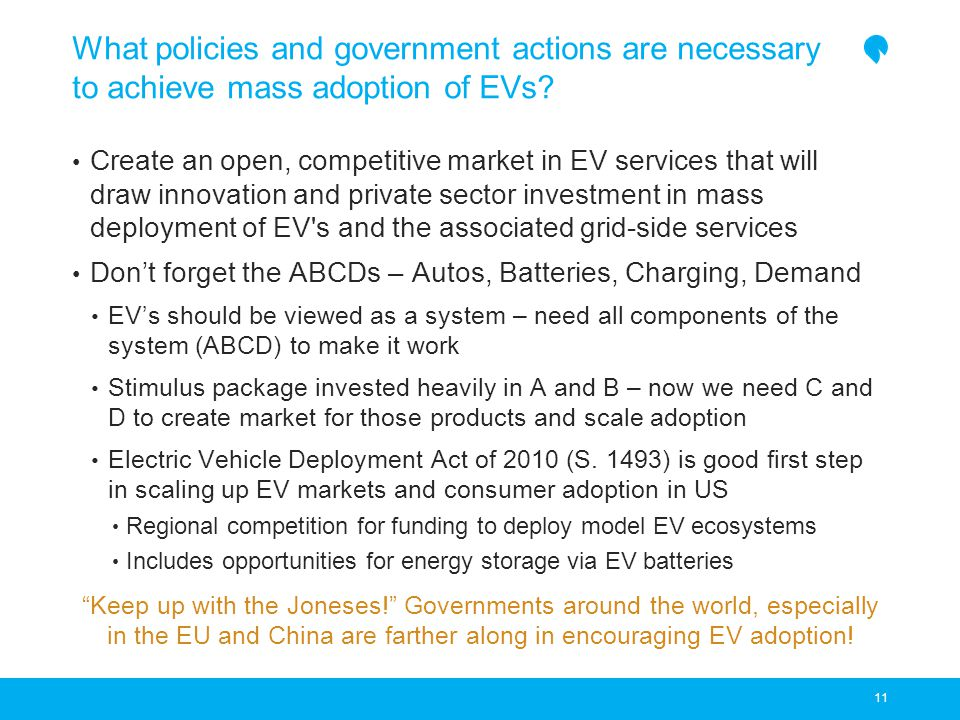 What policies and government actions are necessary to achieve mass adoption of EVs.