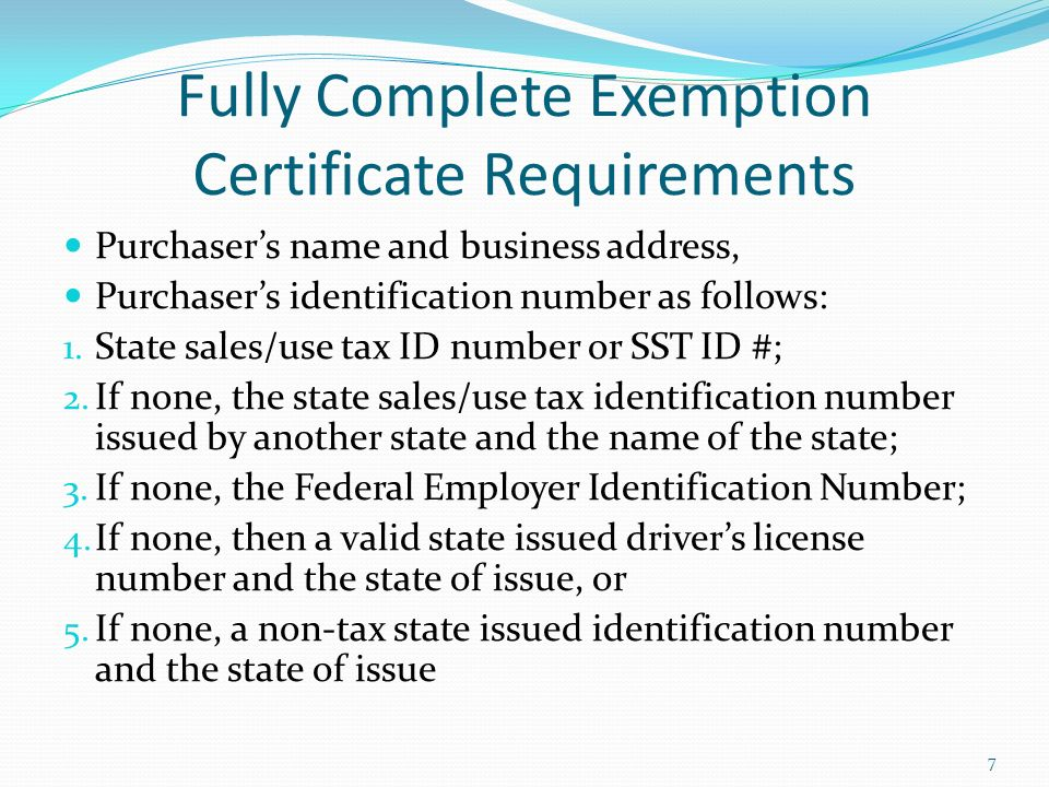 1 Exemption Administration Training Prepared by the Streamlined ...