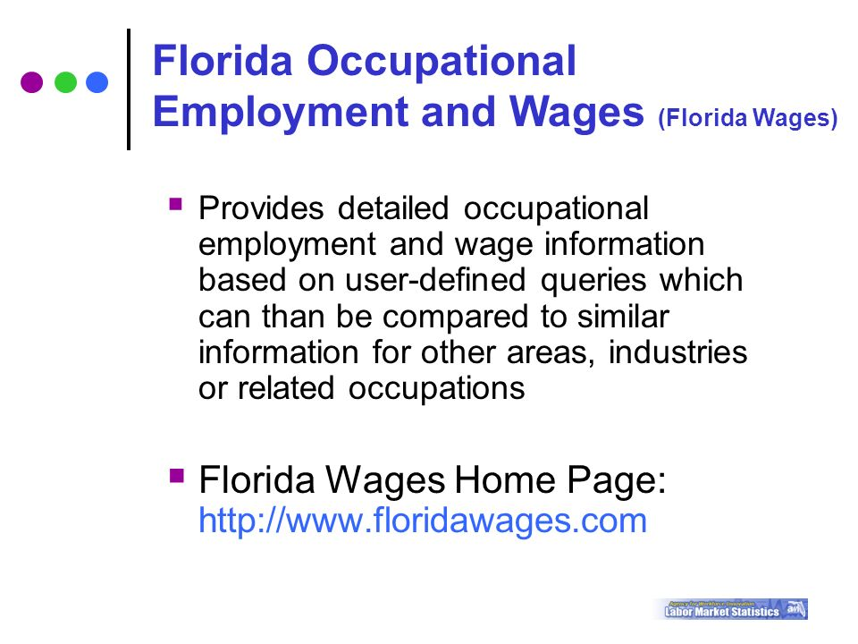  Provides detailed occupational employment and wage information based on user-defined queries which can than be compared to similar information for other areas, industries or related occupations  Florida Wages Home Page:   Florida Occupational Employment and Wages (Florida Wages)