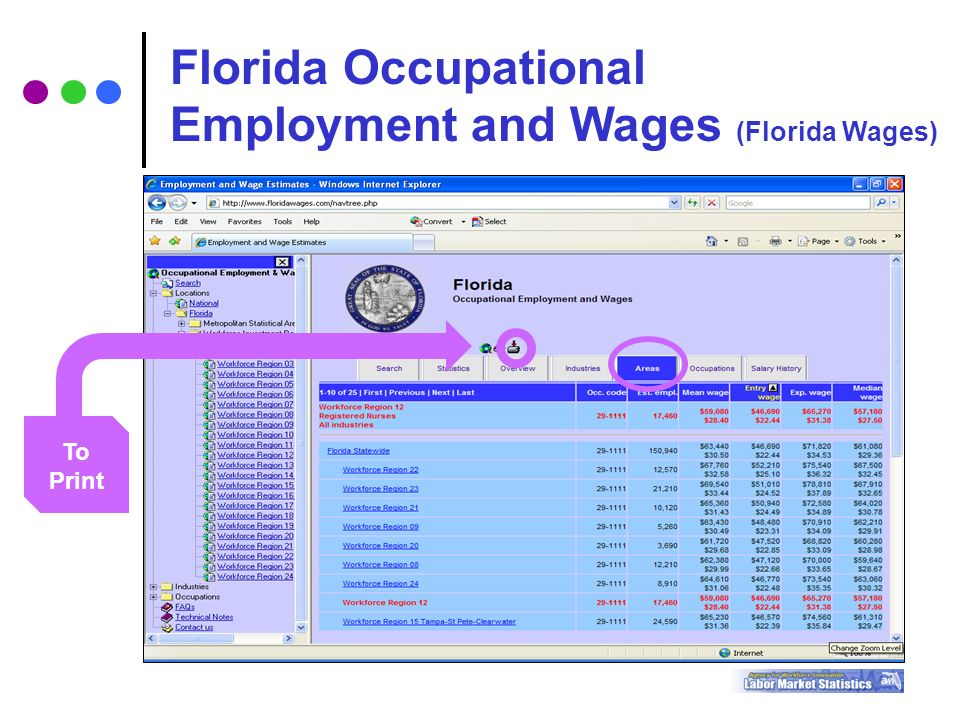 To Print Florida Occupational Employment and Wages (Florida Wages)