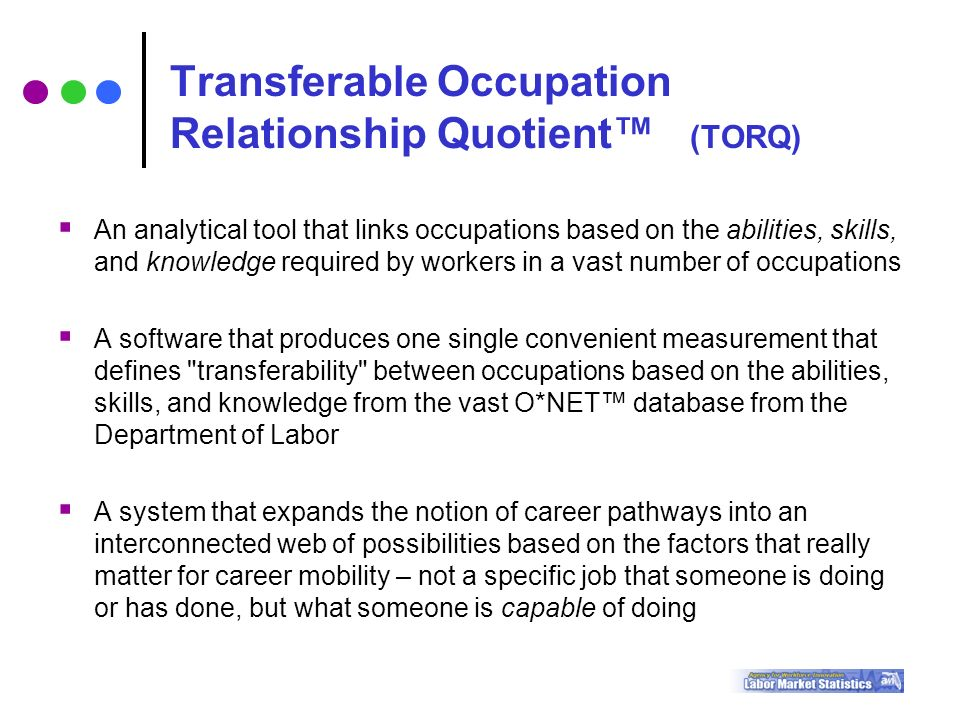  An analytical tool that links occupations based on the abilities, skills, and knowledge required by workers in a vast number of occupations  A software that produces one single convenient measurement that defines transferability between occupations based on the abilities, skills, and knowledge from the vast O*NET™ database from the Department of Labor  A system that expands the notion of career pathways into an interconnected web of possibilities based on the factors that really matter for career mobility – not a specific job that someone is doing or has done, but what someone is capable of doing Transferable Occupation Relationship Quotient™ (TORQ)
